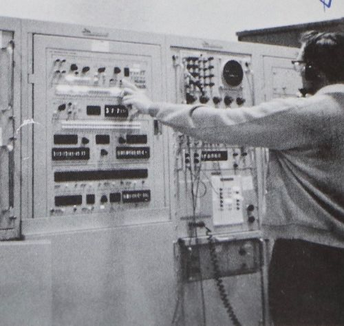Lowell Busching while at a tracking station - photograph by C.S. Hagen