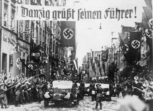 Adolf Hitler rides into the city of Danzig, September 19, 1939