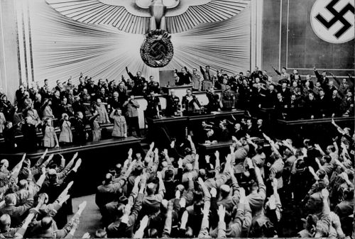 Hitler giving a speech - the National Archives