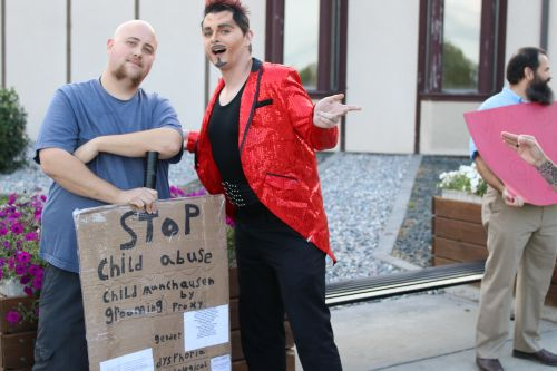 Drag king Carson Jennings welcomes the protestors - photograph by C.S. Hagen