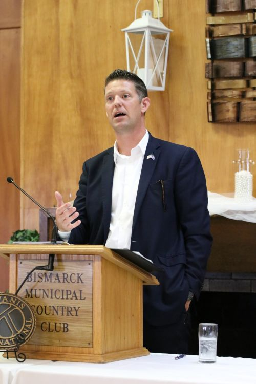 State auditor Josh Gallion speaking at a Kiwanis Club luncheon in Bismarck - photograph by C.S. Hagen