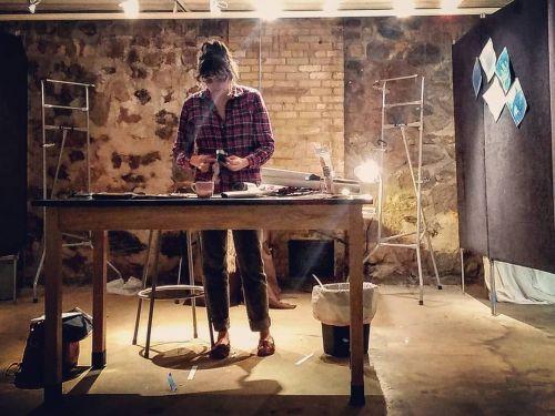 Sabrina working in studio below Kaddatz Galleries -photo by Sabrina Hornung