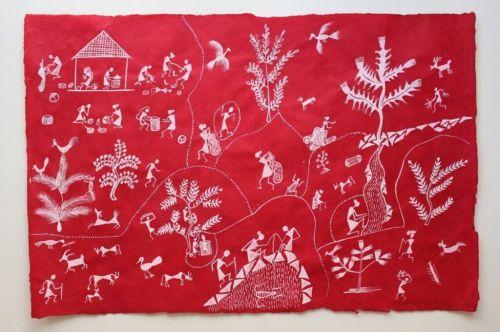 Warli painting by Vaishali Mohite 2017 North Dakota Council on the Arts