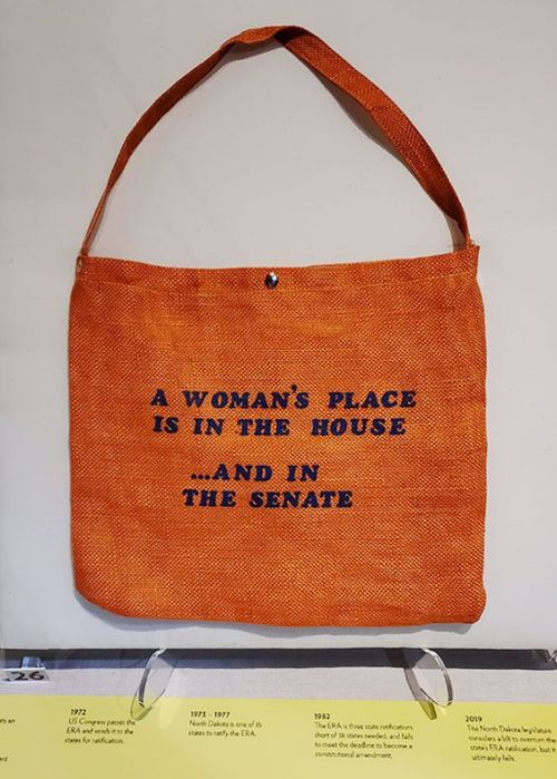 This object's existence is a direct result of women becoming engaged in politics. It was purchased by the donor in 1981 during the 53rd Girls Nation held at Georgetown University in Washington - photograph provided by SHSND