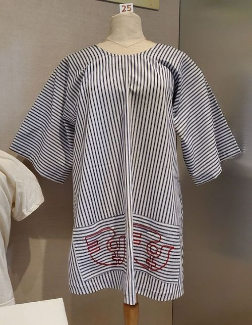 This smock is from International Women's Year (1975). - This smock is from International Women's Year 1975. The garment is from the donor's days as an activist working to gain ratification of the ERA - photograph provided by SHSND. jpeg