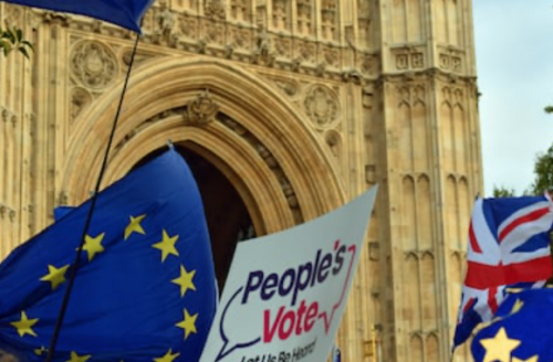 ro-EU protests outside Parliament, August 2019 - photograph provided by William Southworth