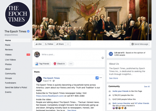 The main Epoch Times Facebook page banner