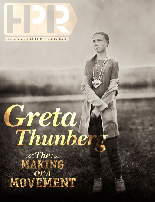 Swedish climate activist Greta Thunberg - wet plate photograph by Shane Balkowitsch, design by Raul Gomez