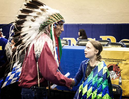 Greta Thunberg meets Chief Arvol Looking Horse at Standing Rock - photograph by Sabrina Hornung