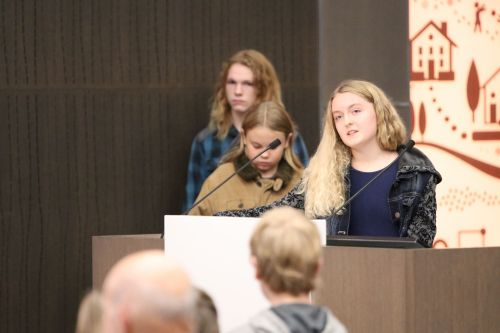 Amelia Demarest, 15, speaks before the city and residents on declaring a climate emergency - photograph by C.S. Hagen