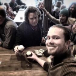 Aaron Juhnke having a beer with