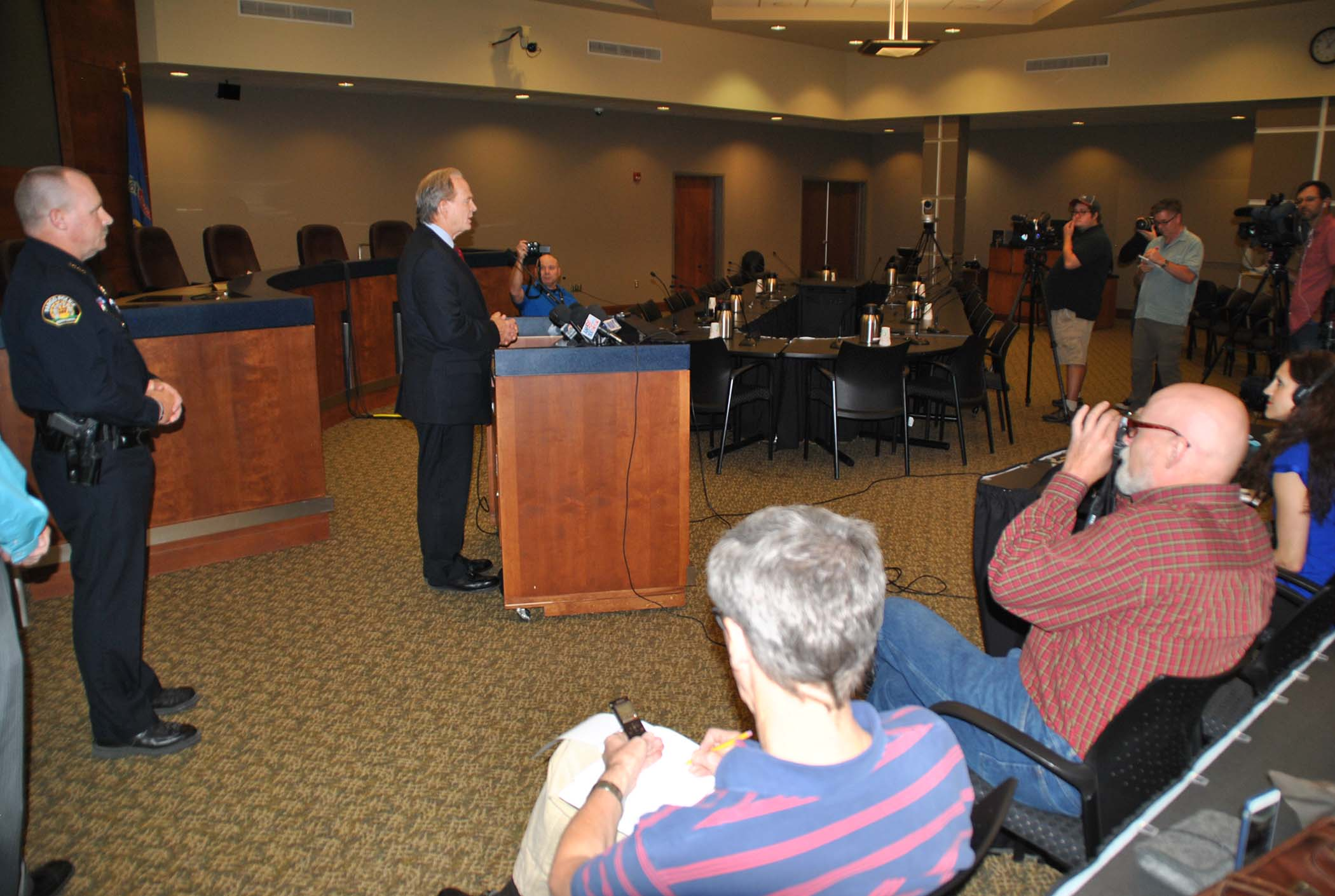 Cass County State's Attorney Birch Burdick at press conference - photo by C.S. Hagen