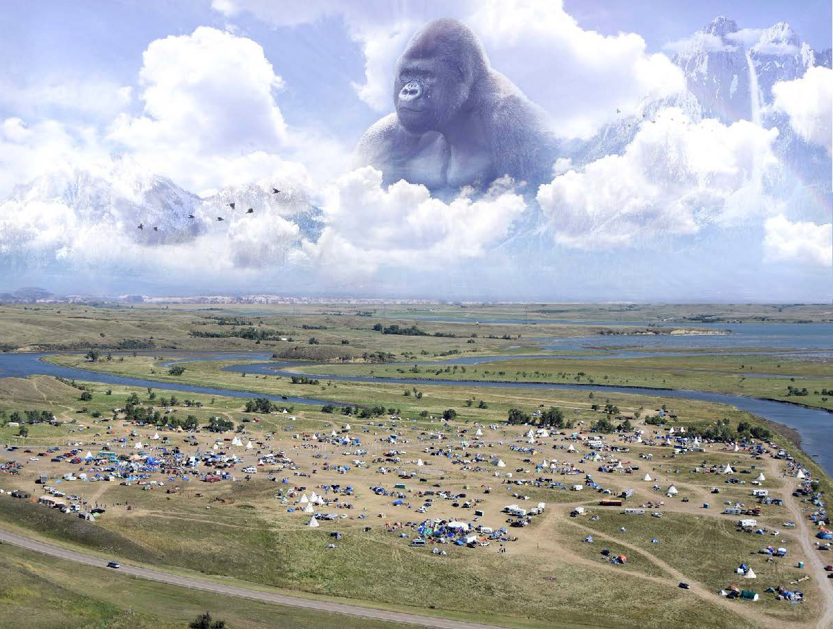 Daily intelligence report from TigerSwan circulated to law enforcement included this picture of a gorilla overseeing the Standing Rock camps
