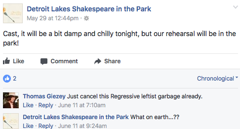 Detroit Lakes Shakespeare in the Park Facebook page post