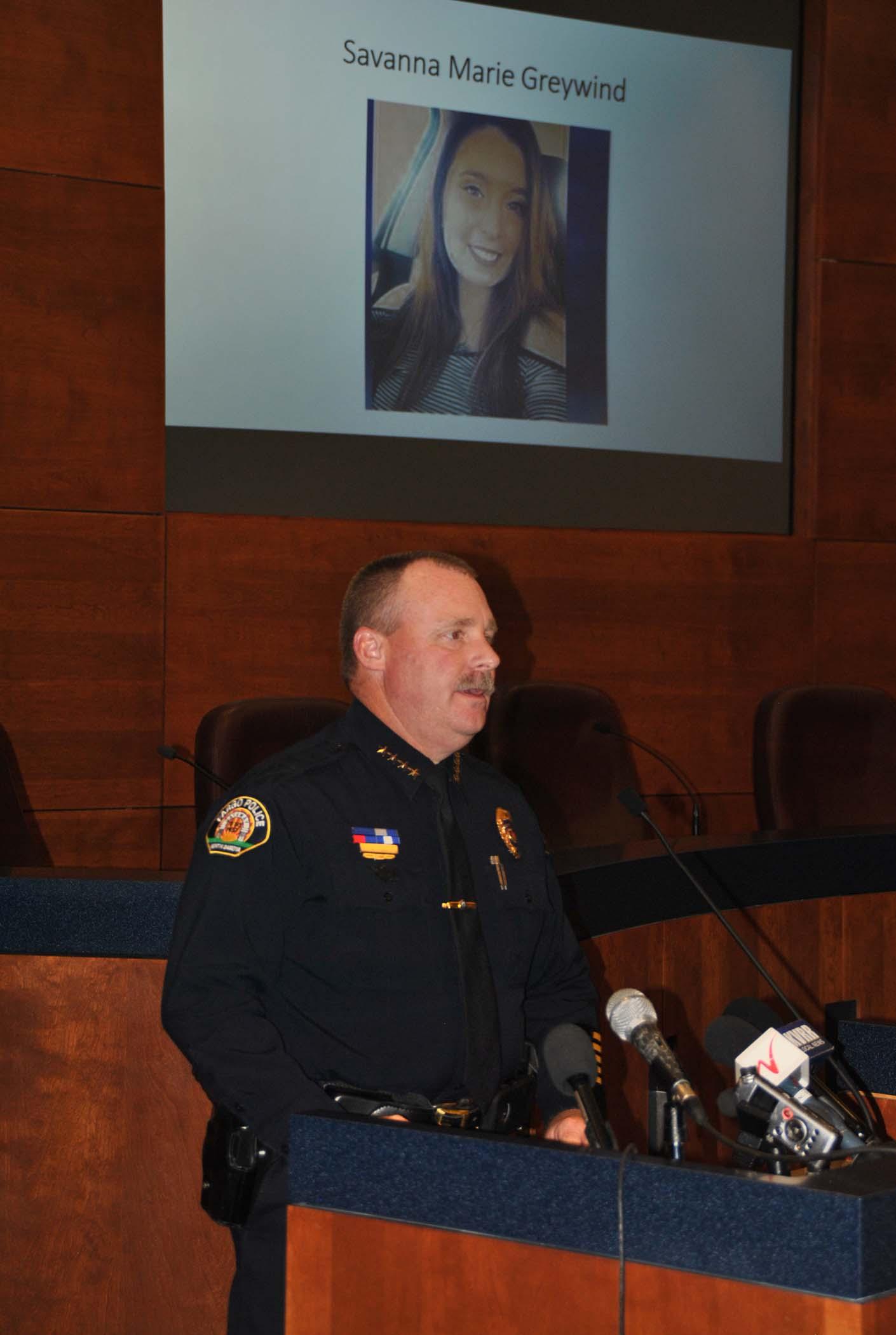 Fargo Police Chief David Todd addresses media Friday - photo by C.S. Hagen