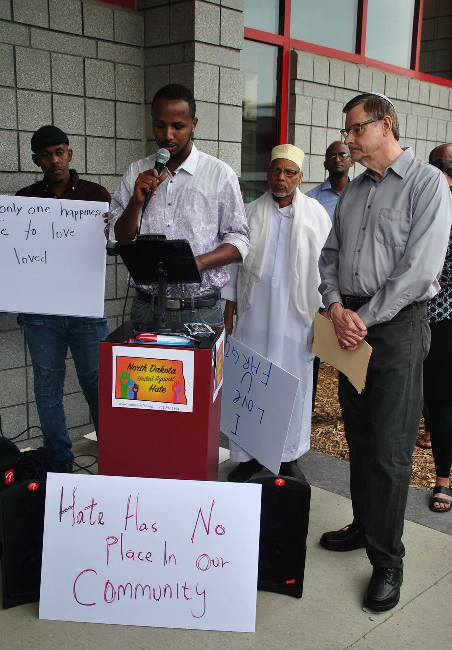 Hukun Abdullahi and David Myers at the rally - photo by C.S. Hagen