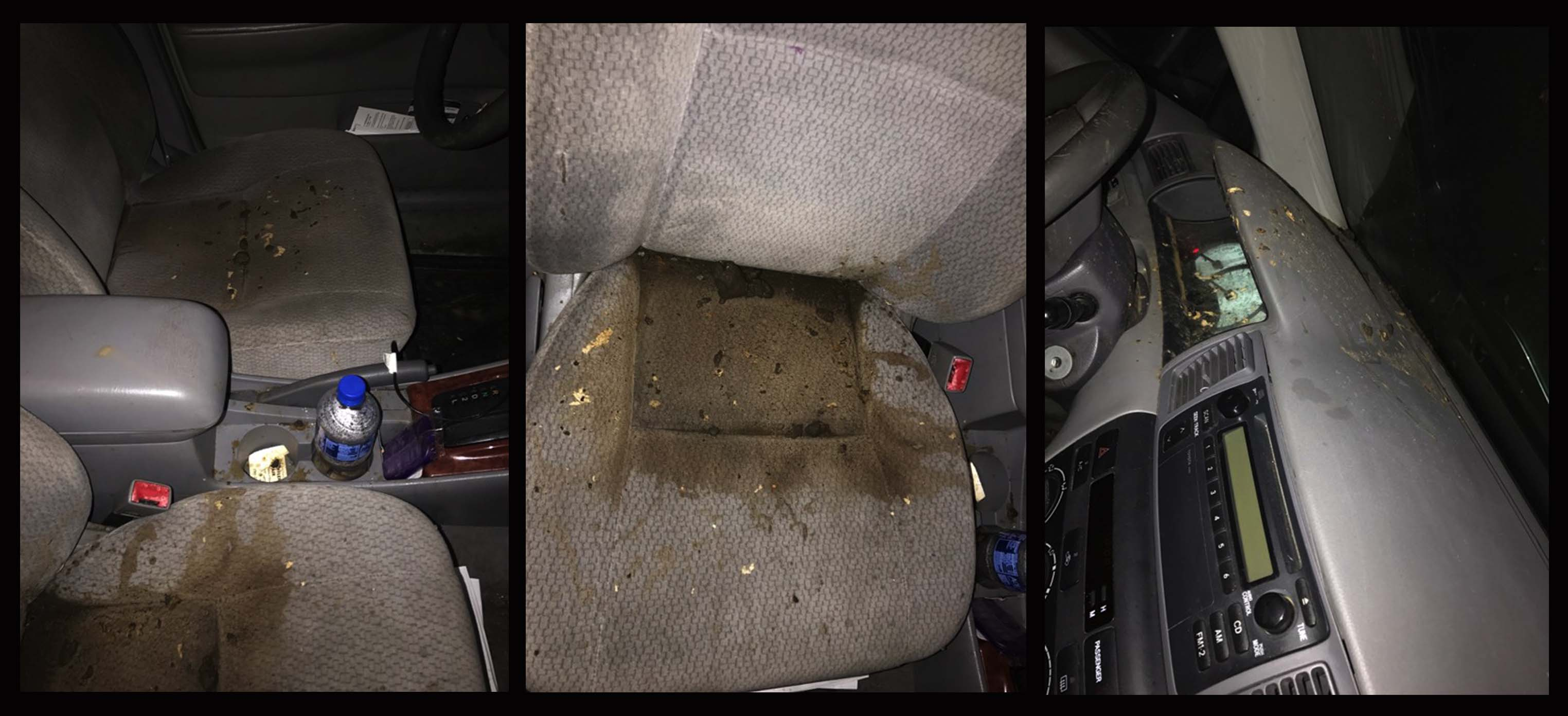 Inside of Yusuf Mohamed's car - photos provided by Hukun Abdullahi