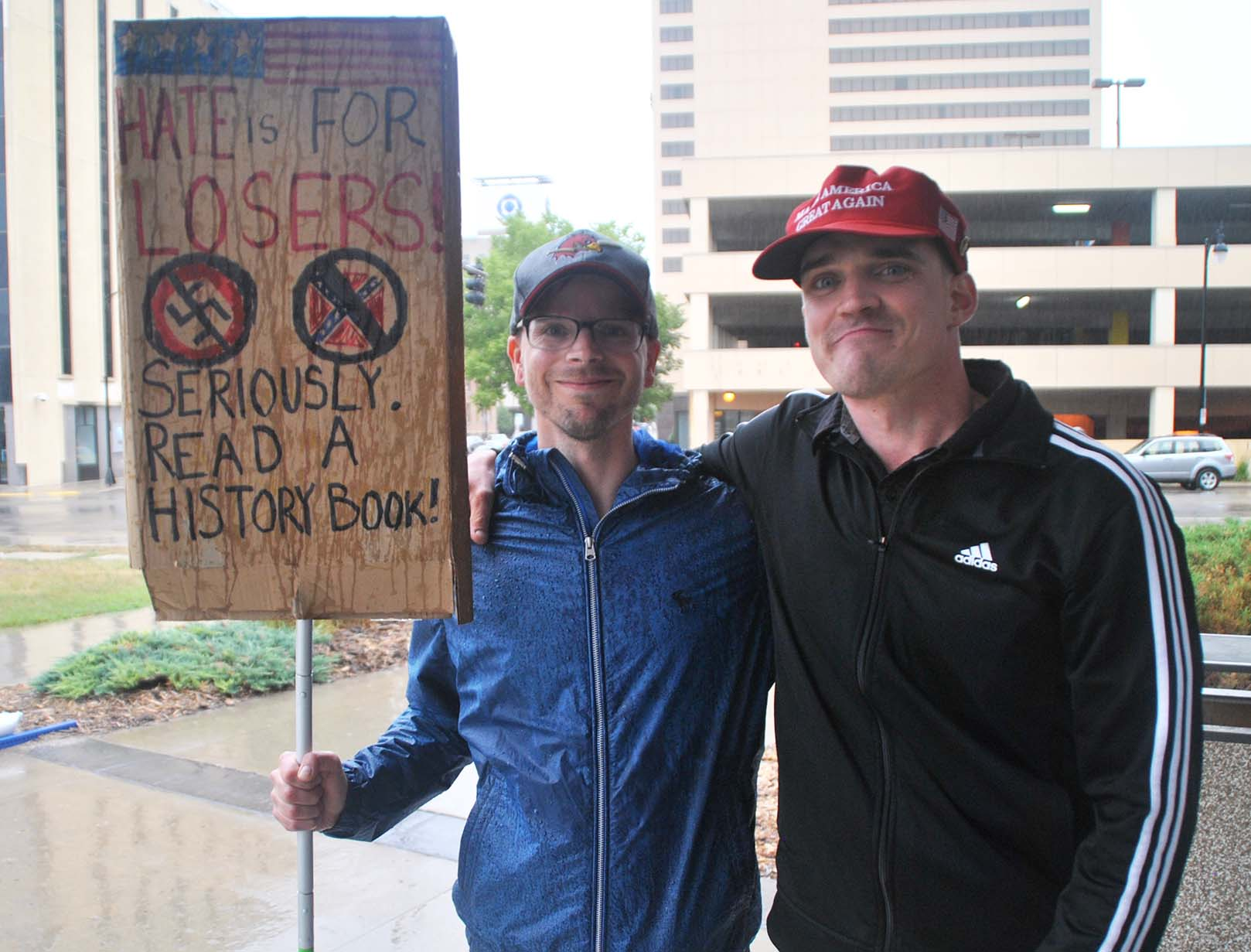 James Bergman and Pete Tefft at the North Dakota United Against Hate rally - photo by C.S. Hagen