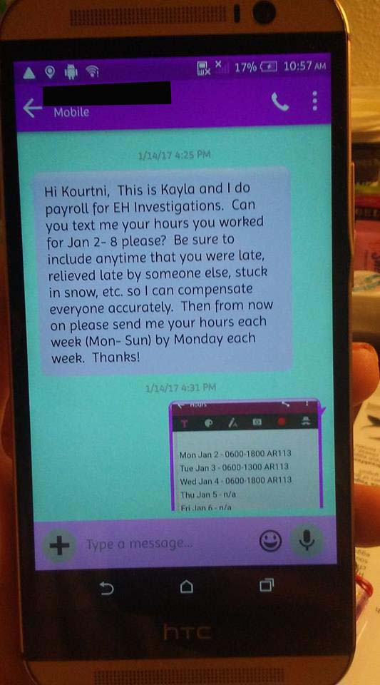 Message from EH Investigations on Kourtni Dockter's phone - photo provided by Kourtni Dockter