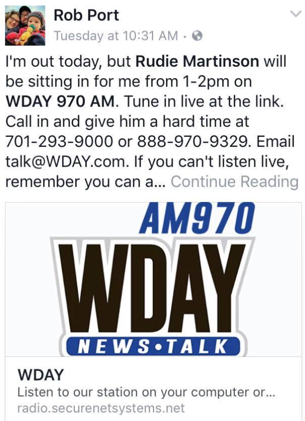 Rob Port's announcement that Rudie Martinson, a director at the Franklin Center, would be sitting in for his radio show on April 25, 2017 - Facebook