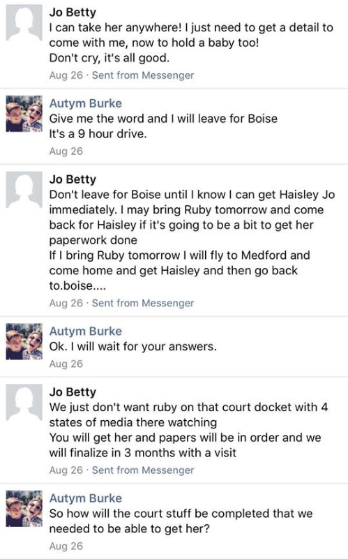 Screenshot of conversation between Betty Jo Krenz, sometimes known as Jo Betty, and Autym Burke on August 26, 2017 - Facebook post