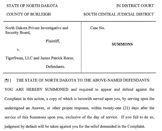 Screenshot of the civil action lawsuit against TigerSwan