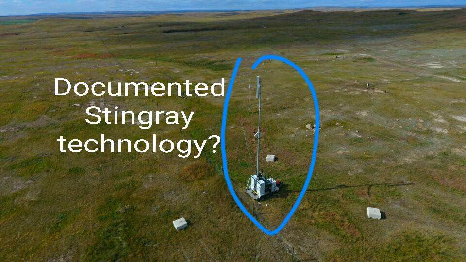 Semi-mobile Stingray rogue field intercept cell tower antenna array with collection and detection gear powered by a grid utility pole with a battery backup - according to two IT specialists
