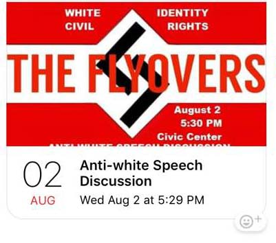 The Flyovers short-lived logo while advertising to counter rally August 2 rally against hate crime