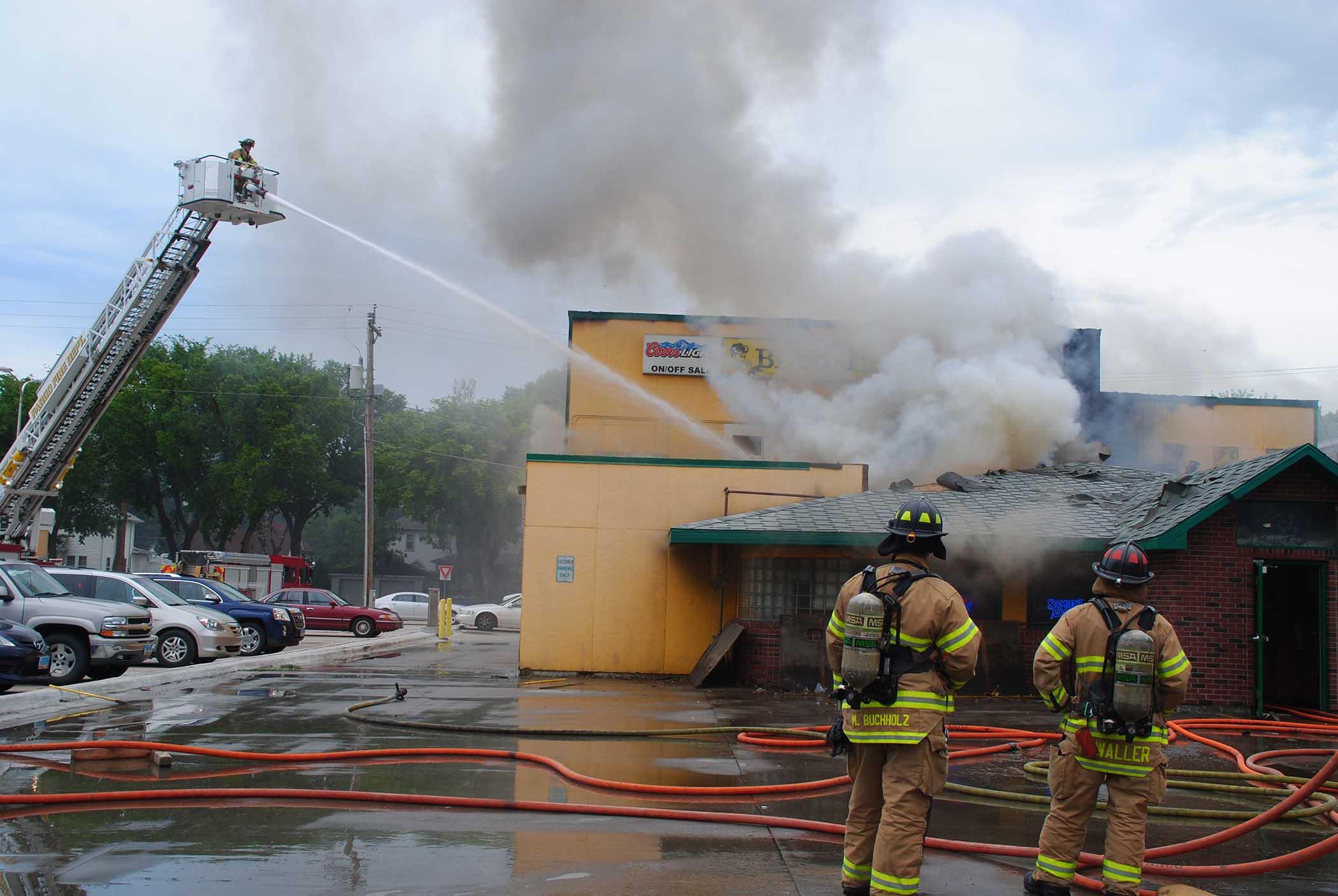 Firefighters battling Bison Turf blaze - photo by C.S. Hagen