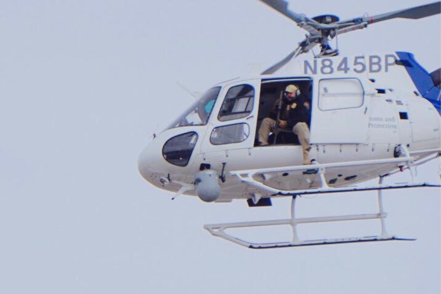The omnipresent white helicopter over Standing Rock camps - photo provided by Myron Dewey